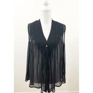 Aqua black mesh sleeveless top